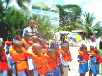 school children getting ready